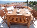 Large dining table - sits up to 8 people. Perfect for dining al fresco
