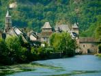 Nearby medieval riverside village