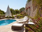 Sunloungers and private pool