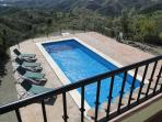 View down to the swimming pool (12 m x 4m)