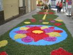 Streets decorated in flowers for Fiesta in June