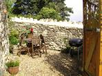 pretty walled garden with BBQ