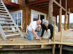 Maggnus Viking and son Hjalti Robin Viking are building an enormous veranda around the house