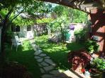 backyard, garage at the back