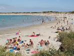 sandy beach, 100m far