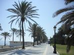 The 1km 'paseo maritimo' is 2 minutes walk away