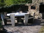 Stone round table and Pizza Oven
