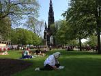 Princes Street Gardens with the Scott Monument. Between the arches you can just see the Balmoral Hot