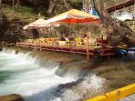 a restaurant over the Dim River - great for a family day out