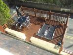 Decked area from upstairs bedroom window.
