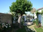 The entrance of the property with the front garden seperating the villa from the lane...