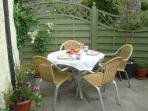 Al fresco breakfast in the sunshine at Avalon Cottage Glastonbury