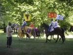 Re enactment of Richard the Lionheart and entourage at Chatea de Brie  one mile away