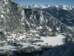 Bird's eye View of Champex and the lake in winter