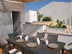 three terraces. One terrace with table for up to 8 persons