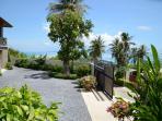 parking , tropical garden