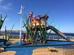 A range of play areas in the area, also a water park for the little, free entry