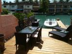 private deck and 30ft dock