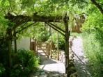 Path to rear garden - the pergola supports a magnificent white Wisteria