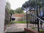 Big garden with garden furniture and bbq.