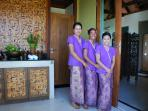 Spa therapists welcome you to our private spa sanctuary