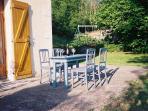 Outside terraced area/swings