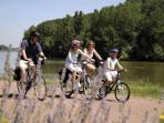 The Scott family cycling by the Loire