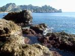 The private rocky shore: Isola Bella is not far (250 metres), fancy a swim?