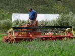 Our large mower being driven by Sybrand while cutting Lucerne.
