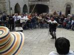In the days before Bevagna's annual festival - The Mercato del Gaite - practice in piazza Silve