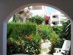 View from lounge of private enclosed garden overlooking the private gardens and pool