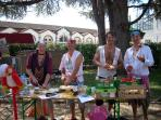 The 'Pirate Crew' prepare their Piperade (famous Salies fete)