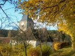 Stigny church in Autumn