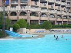 Main swimming pool with children's slide