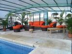 Tropical garden and hot pool for the winter fun