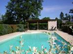 Shimmering water of the fully enclosed swimming pool..