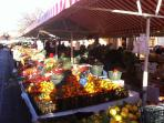 The fruit & vegetable market, five minutes walk from the apartment
