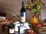 Welcome hamper with home made treats our farm produce and local wine and cheese