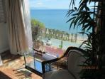 Master bedroom. View of Bajondillo Beach and Malaga. There is a private lift to access this beach .