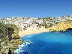 Aerial image of Carvoeiro beach. There are ten golden sandy beaches reached within minutes by car.