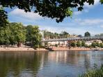 Queen's Park Suspension Bridge and the River Dee
