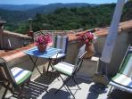Roof terrace overlooking the Luberon mountain range towards Gordes. Mont Ventoux. 360 Vaucluse views