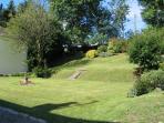 The terraced back garden