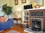 Lovely cosy log fire features in the living room