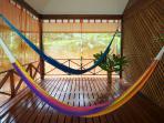 spacious porch deck with hammocks