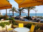 Outside seating on the terrace with lovely sea views