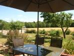 Patio Dining area, garden looking towards Holt Country Park