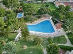 View from apartment over gardens and pool