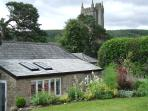 View of garden with moorland beyond