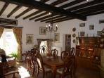 Dining for up to 10 persons, original beams